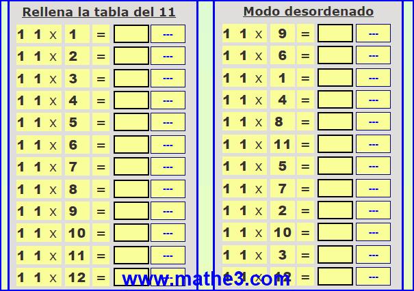 las tablas de multiplicar del 1 al 11