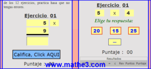 las tablas de multiplicar del 4 y 5