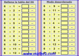 resolver las tablas de multiplicar interactivas del numero 6